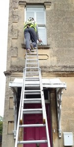 Traditional window cleaning sash window.